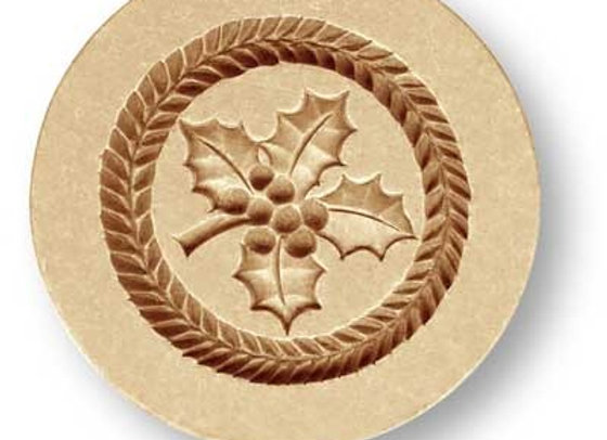 AP2213 Holly Round springerle cookie mold by Anis-Paradise
