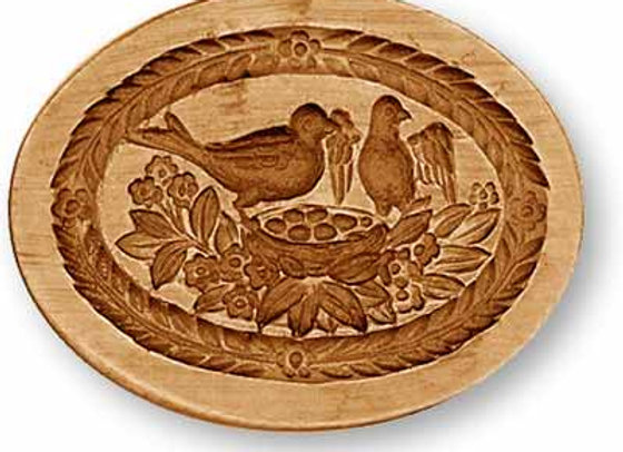 AP 3354 Bird Family oval springerle cookie mold by Anis Paradies 3354
