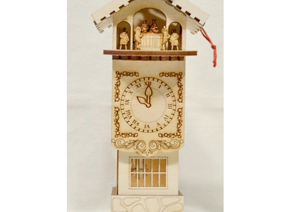 Clock Tower Wooden Ornament by TRC Ginger Cottages