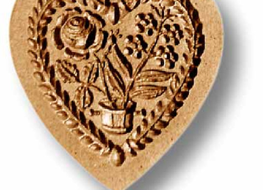 Heart with Flower Pot springerle cookie mold by Anise Paradise 05101