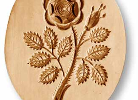 Oval Rose with Buds springerle cookie mold by Anise Paradise 2223