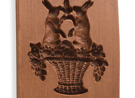 Bunnies in Basket Springerle Cookie Mold  by House on the Hill M5016