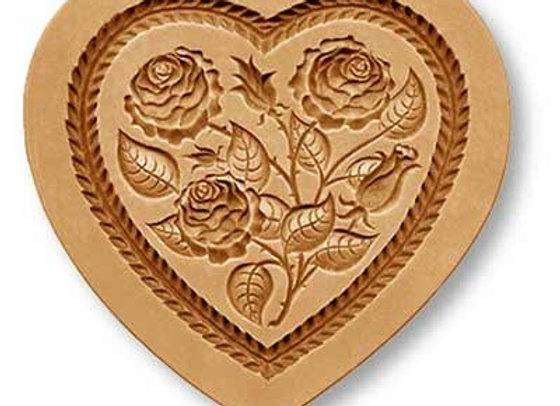 Heart with Roses springerle cookie mold by Anise Paradise 5125