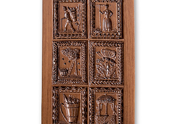 Six Pictures Garden Motifs Springerle Cookie Mold  by House on the Hill M7217