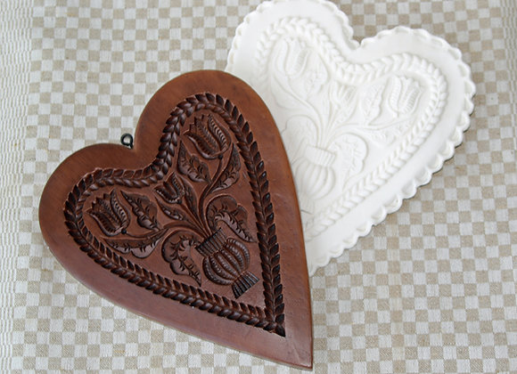 M11824 Dutch Tulips Large Heart Springerle Cookie Mold by Gingerhaus M11824