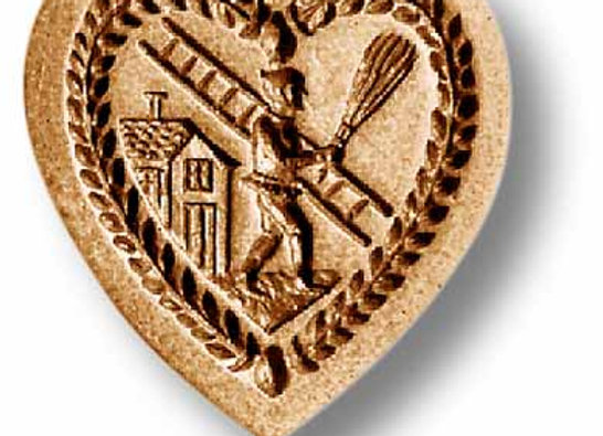 Heart with Chimney Sweep springerle cookie mold by Anise Paradise 5104