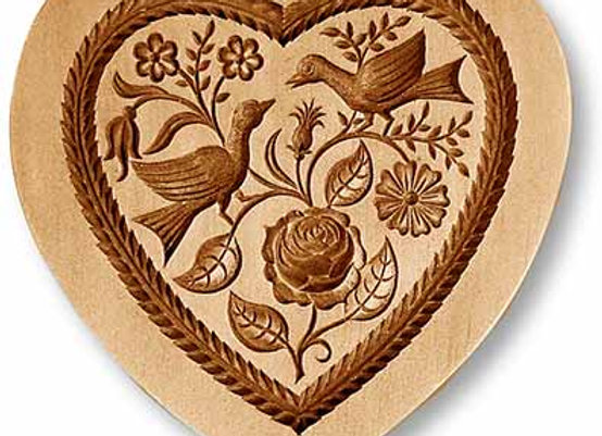 Two Doves Heart springerle cookie mold by Anise Paradise 5100