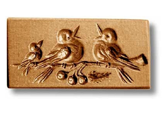 AP-3417 Robin Family springerle cookie mold by Anise Paradise