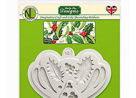 Holly & Mistletoe silicone mold by Katy Sue Designs NLC003