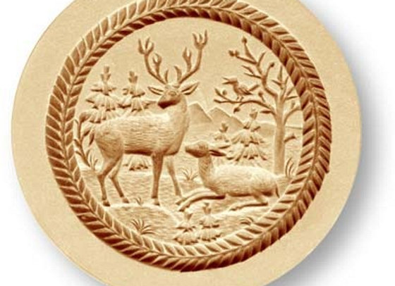 Stag and Doe springerle cookie mold by Anise Paradise 3452