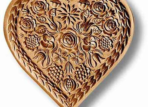 Flower Heart springerle cookie mold by Anise Paradise 5111