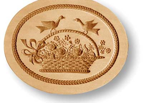 AP 2322 Flower Basket with Doves springerle cookie mold by Anis-Paradies