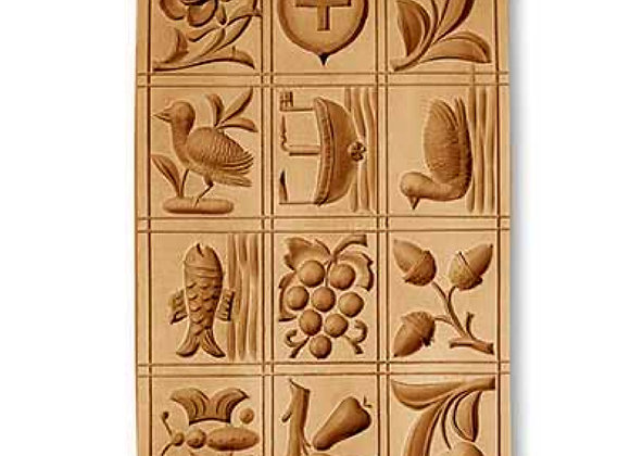 12 Pictures: Swiss Shield, Bird ... springerle cookie mold by Änis-Paradies 8852