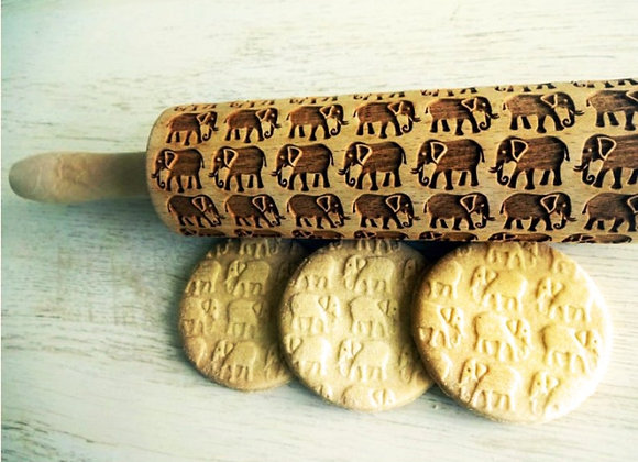 Elephants Wooden Springerle Rolling Pin Large by Gingerhaus® WRPN14L