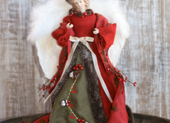 Angel Christmas Tree Topper Decoration - Embroidered Loden Green and Red Felt