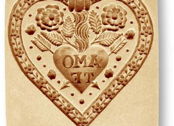 Amo Te Heart springerle cookie mold by Änis-Paradies 5119