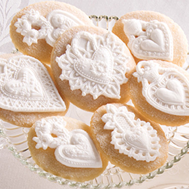 four hearts springerle cookie mold