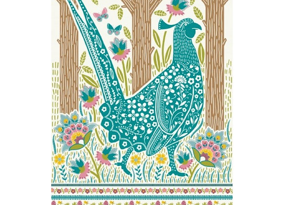022PHS Woodland Pheasant Cotton Tea Towel by Ulster Weavers