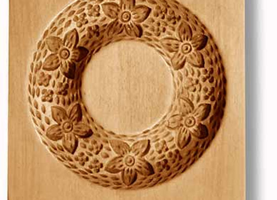 AP 2019 Wreath with Six Flowers and Acorns springerle cookie mold Anis-Paradies