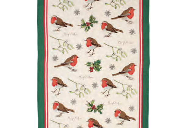 Robins & Holly Cotton Tea Towel by Ulster Weavers 000RBH
