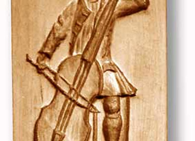 Bass Player circa 1720 Music springerle cookie mold by Anise Paradise 06852