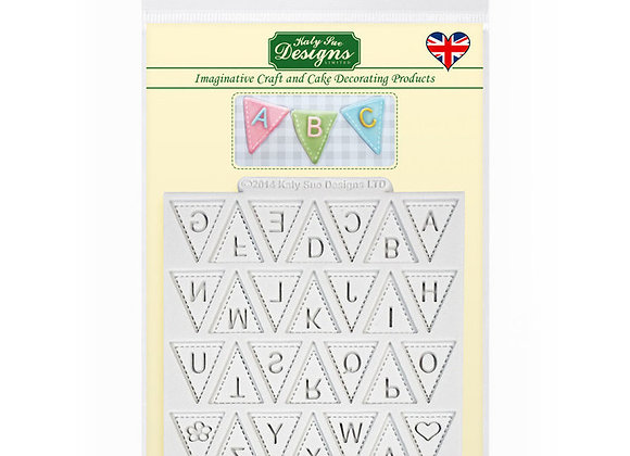 Bunting Alphabet silicone mold by Katy Sue Designs DM15