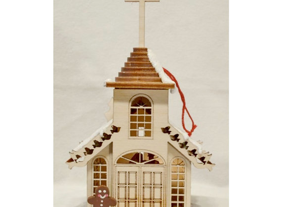 Church Wooden Ornament by TRC Ginger Cottages