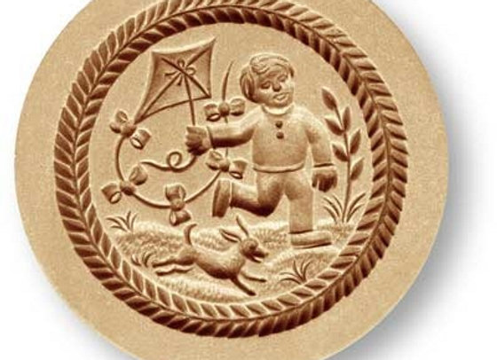 Boy Flying Kite springerle cookie mold by Anise Paradise 7708