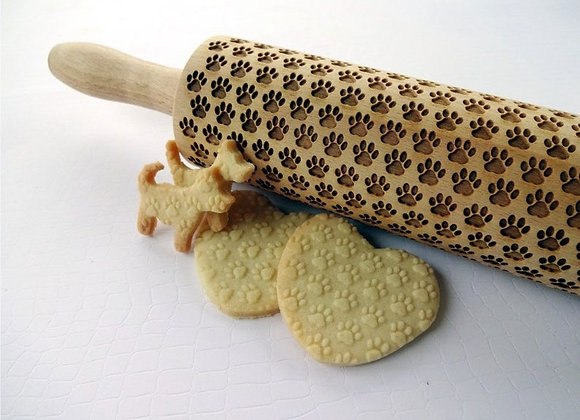 Paw Prints Wooden Springerle Rolling Pin Large by Gingerhaus® WRPN13L