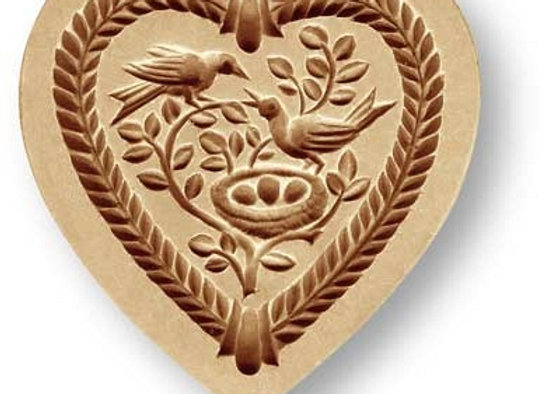 Heart with Bird Family springerle cookie mold by Anise Paradise 5126