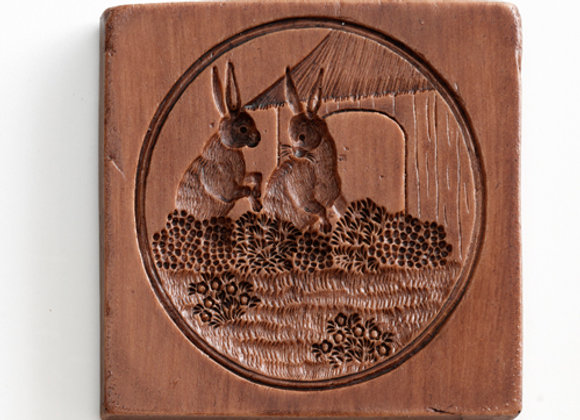 M5386 Rabbit Couple Springerle Cookie Mold by House on the Hill M5386