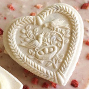 heart with bird family springerle cookie