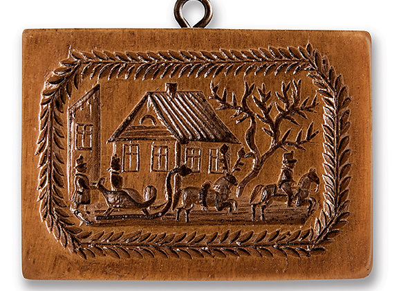 M5383 Winters Sleigh Scene Springerle Cookie Mold  by House on the Hill