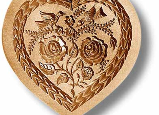 Heart with Two Birds springerle cookie mold by Änis-Paradies 5115