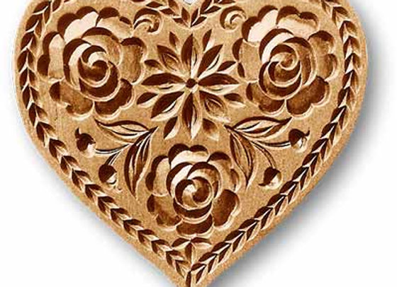 Lotus Flower Heart springerle cookie mold by Anise Paradise 5137