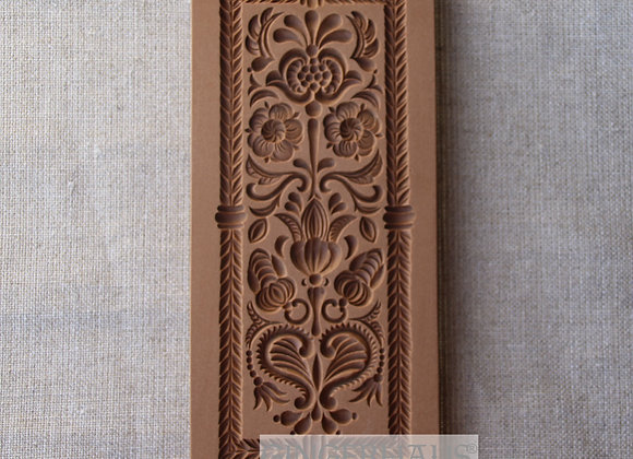 AP 2339 Rectangle Heart Flowers Ornament springerle cookie mold - Anis Paradies