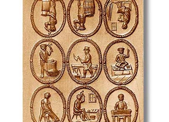 AP8839 9 Pictures: Occupations in 1800 springerle cookie mold Änis-Paradies
