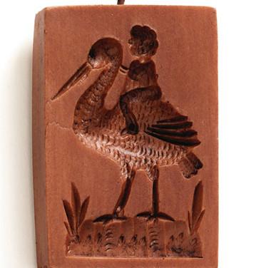 5702 Baby on Stork springerle cookie mold