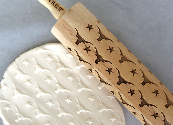 Texas Longhorns ( UT Style ) Wooden Springerle Rolling Pin by Gingerhaus WRPN03L