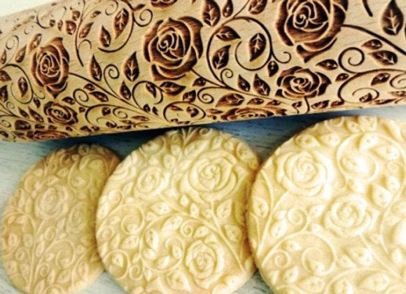 Damask Rose Wooden Springerle Rolling Pin Large by Gingerhaus WRPN19L