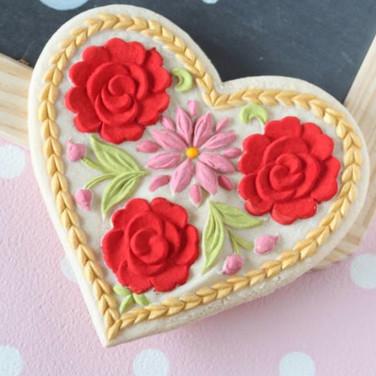 painted lotus heart springerle cookie an
