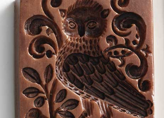 Baroque Owl Springerle Cookie Mold by House on the Hill M5087