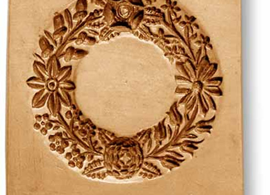 2018 Wreath with Flowers and Acorns springerle cookie mold by Anise Paradise