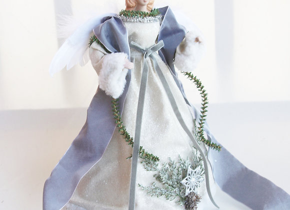 copy of Angel Christmas Tree Topper Decoration - Shimmering Silver Winter