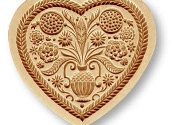 Heart with Flower Bouquet springerle cookie mold by Änis-Paradies 5124