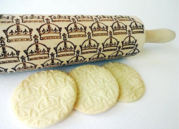 Crown Wooden Springerle Rolling Pin Large - Gingerhaus® WRPN12L