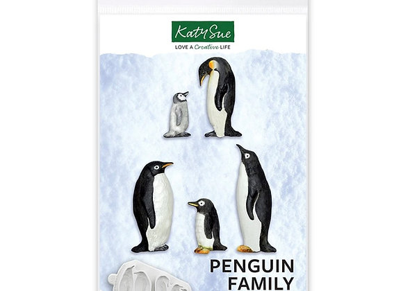 CE0114 Penguin Family ornaments silicone mold by Katy Sue Designs