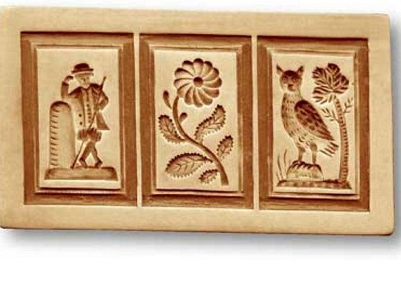 3 Pictures: Hiker, Flower, Owl ... springerle cookie mold Änis-Paradies 8918