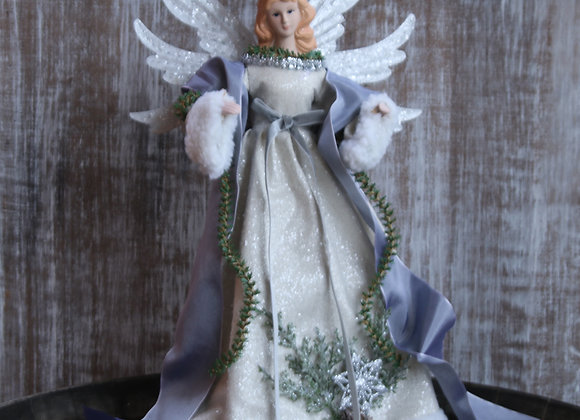 Angel Christmas Tree Topper Decoration - Shimmering Silver Winter