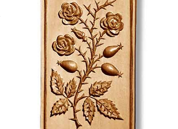 Rose with Rose Hips springerle cookie mold by Anise Paradise 2226